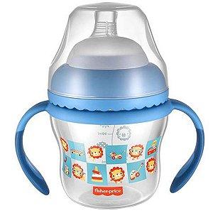 Copo de Transição Com Bico e Alças Bebês Crianças 150ml Ergonômico First Moments Fisher Price Azul