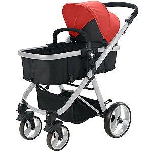 Carrinho de Bebê Passeio Berço Moisés Adapta Bebê Conforto 3 em 1 Reversivel Fisher Price Hero Vermelho
