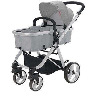 Carrinho de Bebê Passeio Berço Moisés Adapta Bebê Conforto 3 em 1 Reversivel Fisher Price Hero Cinza