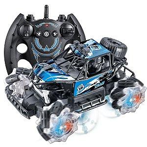 Carrinho Controle Remoto Brinquedo Criança Drifter Azul Polibrinq