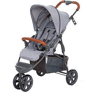 Carrinho Bebê Passeio Reclinavel 4 Posições Função Berço 6 Meses a 15 Kg Moving Light Woven Grey Com Couro - Abc Design