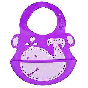 Babador De Silicone Para Bebê Cata-Migalha Baleia Kababy