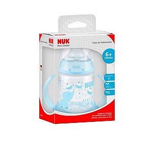 Copo de Treinamento Bebê A Partir de 6 Meses Criança Com Alça Nuk 150ml Bico Silicone Azul