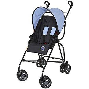 Carrinho de Bebê Passeio Guarda Chuva Reclinavel 6 meses Até 15Kg Capri Galzerano Preto Azul