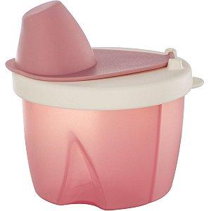 Pote Dosador para Leite em Pó com 3 Divisórias Livre de BPA Rosa - Kababy