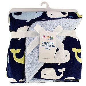 Cobertor Para Bebê Manta Com Sherpa Infantil Macio Baleia