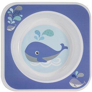 Prato Tigela de Bebê Alimentação Quadrada Resistente Comida Fria e Quente Bowl Kababy Azul