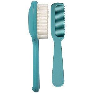 Kit Higiene Bebê Escova e Pente de Cabelo Cerdas Macias +0 Meses Kababy Azul
