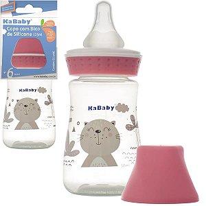 Mamadeira Copo de Bebê com Bico em Silicone 125ml Rosa - Kababy