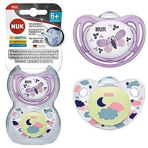 Kit 2 Chupetas de Bebê Brilha No Escuro A partir de +6 Meses Tam 2 Menina Dia e Noite Nuk
