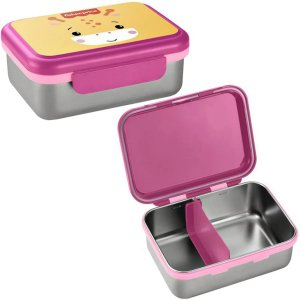 Porta Lanches Infantil Bento Box Rosa Chock em Aço Inox Hot e Cold Para 6+ Meses - Fisher Price