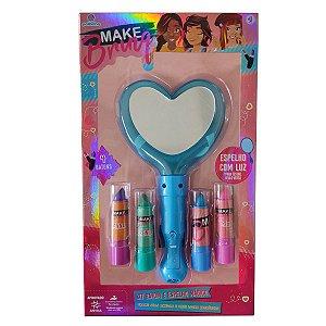 Kit Maquiagem Infantil Com Batons Espelhos Com Luzes Brinquedo Criança Menina Polibrinq