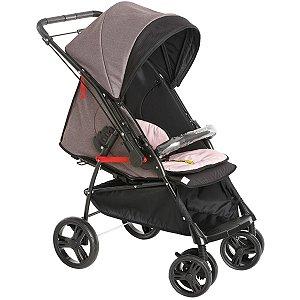 Carrinho Para Bebê Passeio 2 em 1 Nascimento Até 15Kg Reclinavel Maranello II Galzerano Preto Rosa