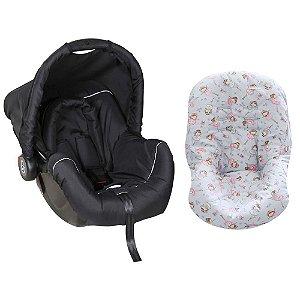 Bebê Conforto Preto/Cinza + Capa Para Bebê Conforto Bailarina Cinza/Rosa