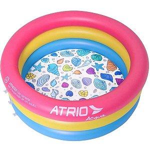 Piscina Inflavel Redonda Criança Bebê 88 Litros de Água Conchas Atrio Acqua