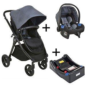 Carrinho de Bebê Passeio 3 em 1 Travel System Moises + Bebê Conforto Touring X + Base Soul Burigotto Black Mixed