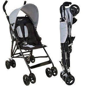 Carrinho de Bebê Guarda-Chuva Burigotto Oi Gray Black A Partir de 6 Meses Até 15Kg