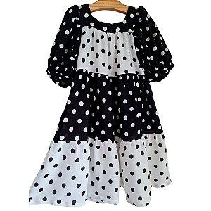 Vestido Poa Black and White