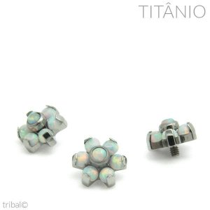Topo Microdermal Flor Opala 7 Pedras Titânio