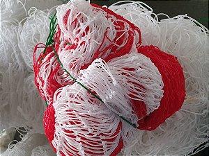 Rede de Proteção Esportiva 1,50x12m Fio 2 Malha 05cm Branca e Vermelha