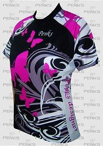 Camisa Feminina Ciclismo Borboleta Rosa - Penks