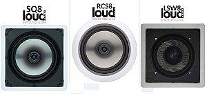 Caixa Loud de Embutir 8 Polegadas RCS8/SQ8 e Subwoofer LSW8