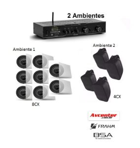 Som Ambiente Avcenter - 1 Amplificador  Slim 2500 + 8 Caixa de Embutir S3 para Ambiente 1  + 4 Caixas de Sobrepor AW4  para Ambiente 2