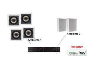Som ambiente Loud 2 Ambiente - 1 APL450 + 4 SQ5 + 2 LB5