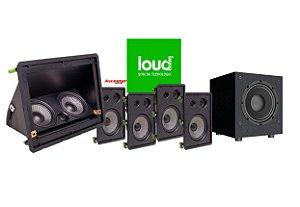 """Kit de Caixas 5.1 Loud Audio para Home Theater - 1 LHT 100 Central - 4 LHT tw 3 Vias - 1 Subwoofer 12"""""""