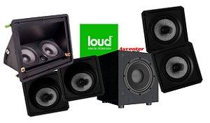 Kit de Caixa Loud 5.1 Loud Audio - 1 LHT 100 - 2 Kevlar Angulada + 2 Kevlar Reta + 1 Subwoofer