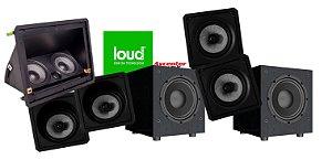 Kit de Caixa Loud 5.2 Loud Audio - 1 LHT 100 - 2 Kevlar Angulada + 2 Kevlar Reta + 1 Subwoofer