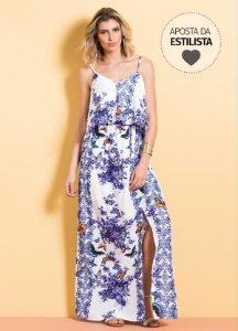 Vestido Longo Cetim Mix Floral Quintess