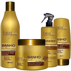 KIT BANHO DE VERNIZ com shampoo mascara leave-in e queratina