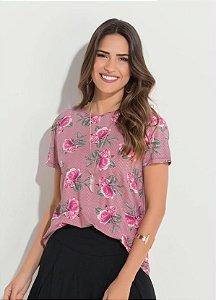 Blusa Floral com Vazado Costas
