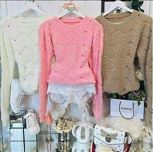 Suéter de Pelúcia c/ Aplicações