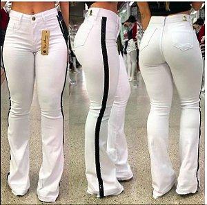 Calça Jeans Flare Branca Listras