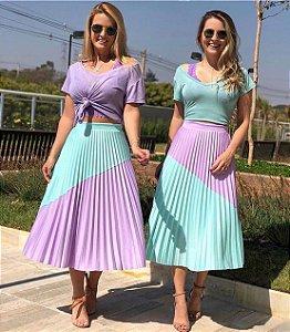 Saia Mid Plissada Duo