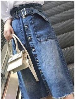 Saia Geórgia - Midi Jeans - Linha Importados