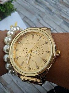Relógio MK Dourado Brilho