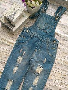 Jardineira Jeans  Destroyed