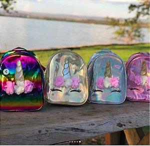 Mochila Infantil Holográfica Unicórnio