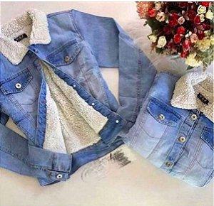 Jaqueta Jeans Forrada Pelinhos