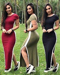 Vestido Longo Faixa Lateral Manguinha
