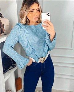 Blusa de Tricot Babados Azul