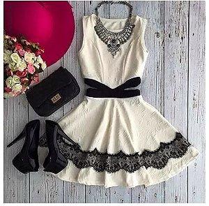 Vestido Jacquard c/ Renda