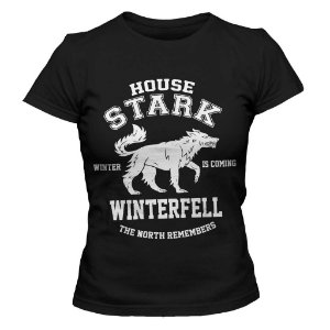 Camiseta Feminina Game of Thrones - House Stark Winterfell