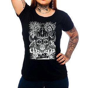 Camiseta Feminina Black Sabbath - Skulls