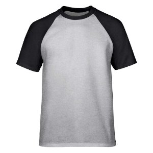 Camiseta Raglan Lisa Masculina Malha Penteada Confort - Cinza