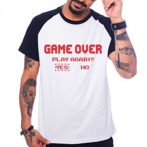 Camiseta Raglan Game over - Play Again?