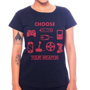 Camiseta Feminina Your Weapon - Preto - GG